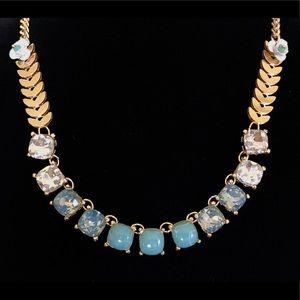 New LOFT gold, jade & crystal statement necklace